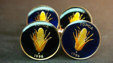 Tonga enamelled coin cufflinks 1 seniti  Ear of corn 18mm