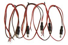 (5) Pack 24 in 2.1mm x 5.5mm DC male jack to open bare wire adapter cable + / -