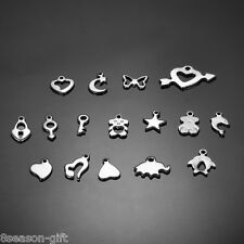 20PCs New Fashion Silver Tone Stainless Steel Plain Pendant Jewelry Findings