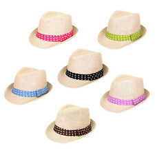 Women's Polka Dot Band Natural Fedora Straw Hat - Different Color Band Avail