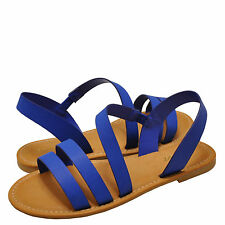 Women's Shoes Bamboo Bayside 04S Strappy Asymmetrical Flat Sandal Sapphire *New*