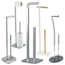 Chrome Free Standing Toilet Roll Holder Stand Tissue Paper Storage Dispensers