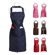 Plain Apron Front Pocket for Chefs Kitchen Cooking Craft Baking Waiter HY