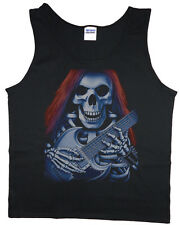 Men's tank top skeleton guitar gothic biker heavy metal t-shirt sleeveless tee