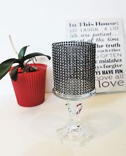 Black Tall Crystal Glass Votive Candle holders  wedding centerpieces TeaLight pc