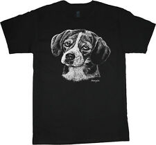 Beagle shirt dog breed t-shirt men's t-shirt black tee white design