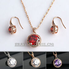 Fashion Solitaire Dangle Earrings Necklace Jewelry Set 18KGP Rhinestone Crystal