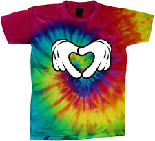 tie dye t-shirt heart hands hand sign cool tie dyed tee shirt