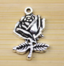30/60/100 pcs wholesale:very beautiful Tibet silver A rose charm pendant