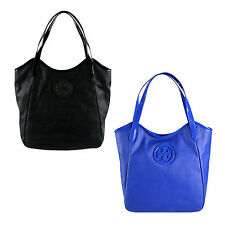 NWT Auth Tory Burch Dipped Canvas Stacked Logo NS Tote Bag $395