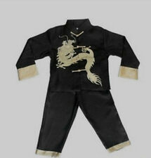 Chinese Boy's Dragon Kung FU party Shirt Pants Suit Black 2 4 6 8 10 12 12 16
