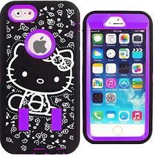 Purple & Black Hybrid Hello Kitty Case for iPhone 6S Plus Cute Strong Cover