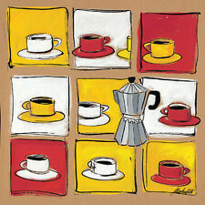 Framed & Double Mounted Fine Art Print, Quirky Coffee Cups, Block Design, Bright