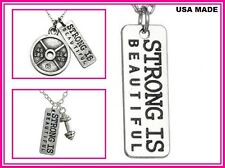 USA STRONG IS BEAUTIFUL Barrbell Weight Message Silver Friends Family Necklace