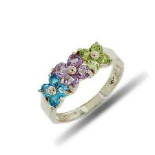 2.00 cts Blue Topaz, Amethyst and Peridot 925 Sterling Silver Ring Rhodium over