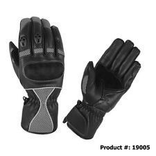 Premium Goat Skin Perforated Mesh Fabric & Leather Motorcycle Gloves Gray 19005