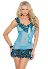 Mesh Animal Print Baby Doll with Matching G-String - Elegant Moments