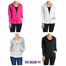 NWT Women's /Girls  Classic Full Zip Up Hooded Cotton Jacket Sweatshirt