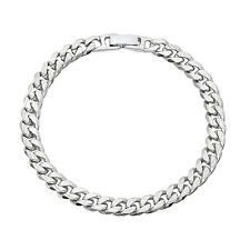 7mm Textured Medium Curb Link Bracelet Heavy Plated White Gold Fold Over Clasp