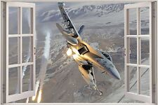 Huge 3D Window Army Fighters Planes View Wall Sticker Decal Wallpaper Mural 912