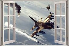 Huge 3D Window Army Fighters Planes View Wall Sticker Decal Wallpaper Mural 920
