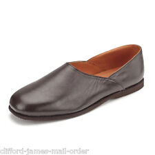 Mens Carlton Leather Grecian Slip On Durable Slippers Soft Lining | Dark Brown