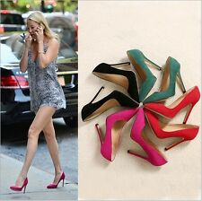 Sexy Stilettos High Heels Women's Fashion Pumps Classic Suede Pointed Toe Shoes