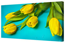 Bright Yellow Tulip Flowers Spring Floral Canvas Wall Artwork Picture Print