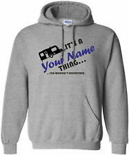 KIDS CARAVAN NAME THING PERSONALISED HOODIE CAMPING HOODY CAMPERVAN AGES 5-15