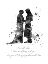 ART PRINT Aragorn and Arwen Quote, Lord of the Rings illustration, B & W