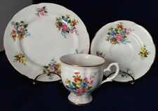 Crown Staffordshire Fine China England Cup, Saucer, Dessert Plate Floral w/Gold