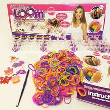COLOURFUL RUBBER LOOM BANDS BRACELET MAKING KIT - BANDS, S-CLIPS, TOOL, BOARD