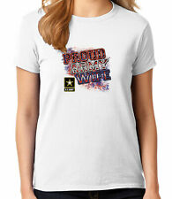 Proud WIFE Ladies T-shirt Patriotic US Army Wife Tees for Women - 1205C