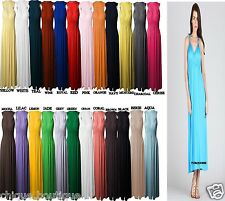 WOMEN'S LADIES FULL LENGTH ONE SIZE LOT SLEEVELESS COIL STRAP MAXI DRESS 8-14