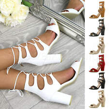 WOMENS LADIES CHUNKY HIGH HEEL LACE UP CAGED WRAP AROUND PEEP TOE SANDALS SIZE