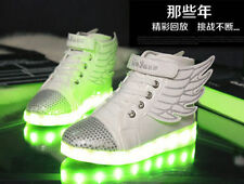 LED Light up USB Charger Velcro boys girls Sneakers Wings Kids dance Shoes PP6