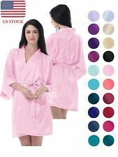 Women/Kid Wedding Kimono Robe Sleepwear Silk Satin Bathrobe Gown Babydoll Pajama