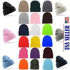 NWT Wholesale Lot 12-96 Plain Beanie Cap Slouchy Hat Knit Winter Custom Men Girl