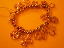 Gold Charm Bracelet Four Leaf Clovers Horseshoes & Wishbones