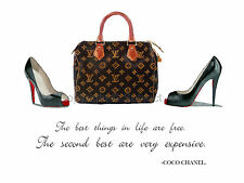 ART PRINT CHRISTIAN LOUBOUTIN Shoes, LV Speedy Bag, Coco Chanel Quote, Wall Art
