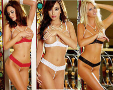 A sexy ladies lace pearl open crotch cup bra and thong lingerie outfit set LS11