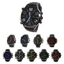 V6 Men Cool Super Large Dial Quartz Steel Silicone Band Wrist Watch  HY