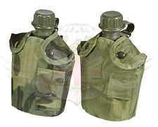 MIL-COM ARMY STYLE 1L WATER BOTTLE & NYLON OLIVE GREEN OR WOODLAND CAMO POUCH