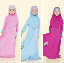 Kaftan Abaya Muslim Kids Girls Anna Elsa Maxi Long Dress+Hijab Islamic Clothes