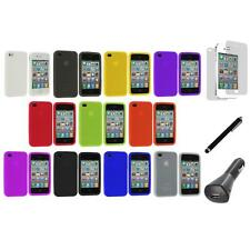 Color Silicone Rubber Gel Case Cover+LCD+Charger+Pen for iPhone 4S 4G
