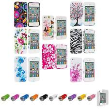 For iPhone 4 4S Color Design TPU Rubber Soft Skin Case Cover+Car Charger+LCD