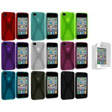 X-Line TPU Rubber Skin Cover Case+3X LCD Protector for iPhone 4 4S 4G Accessory