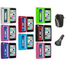 For Apple iPhone 5C Silicone Case Cassette Retro Tape Cover Gel+2X Chargers