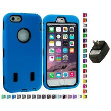 For Apple iPhone 6 (4.7) Hybrid Armor Case Cover LCD Accessories Wall Charger