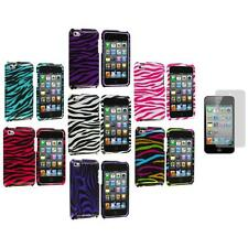 Zebra Hard Case Cover Accessory+3X LCD Protector for iPod Touch 4th Gen 4G 4